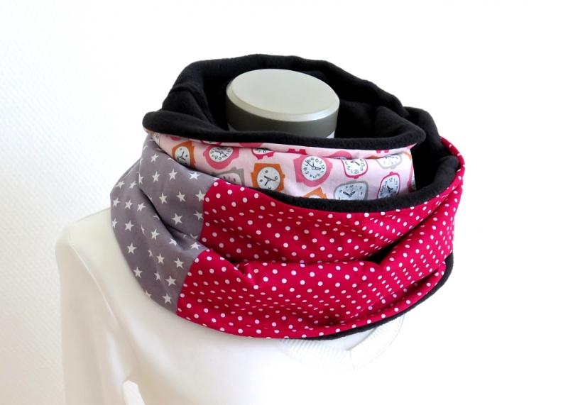 - Milo-Schaly Loopschal pink rosa grau Sterne Punkte Wecker Fleece Einzelstück  Loop   - Milo-Schaly Loopschal pink rosa grau Sterne Punkte Wecker Fleece Einzelstück  Loop