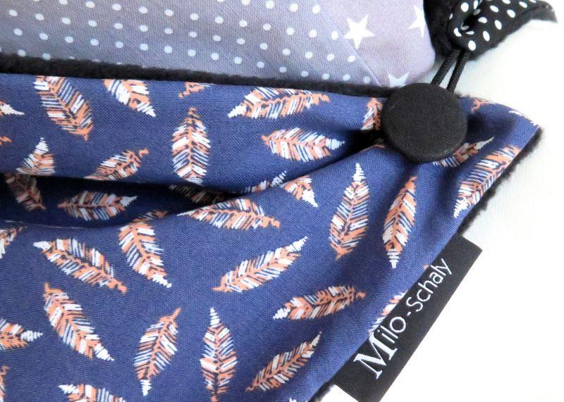 Kleinesbild - Milo-Schaly Wickelschal mit Knopf Damen Federn warmer Schal Fleece Knopfschal