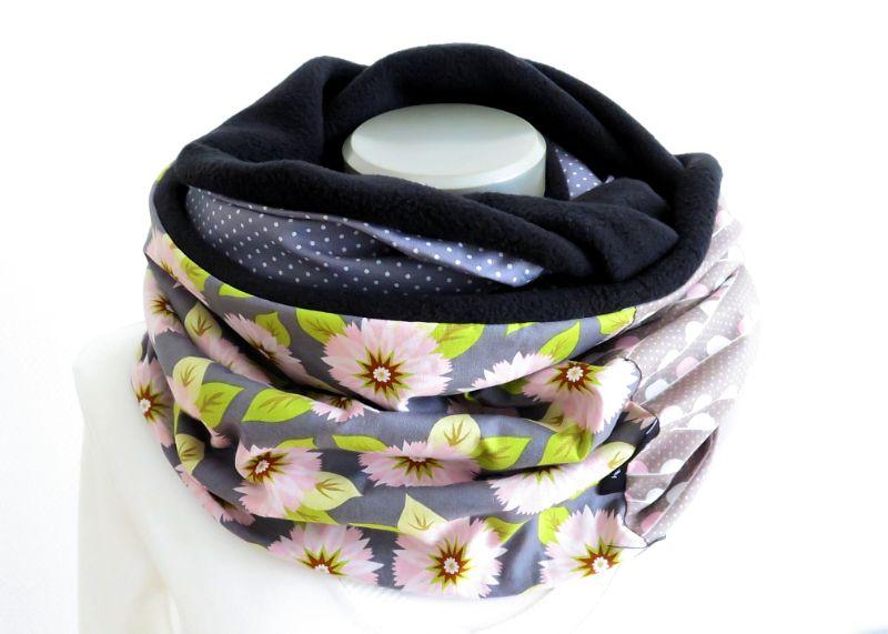 - Milo-Schaly Loopschal grau bunt Blumen Fleece Einzelstück Loop  Damen    - Milo-Schaly Loopschal grau bunt Blumen Fleece Einzelstück Loop  Damen