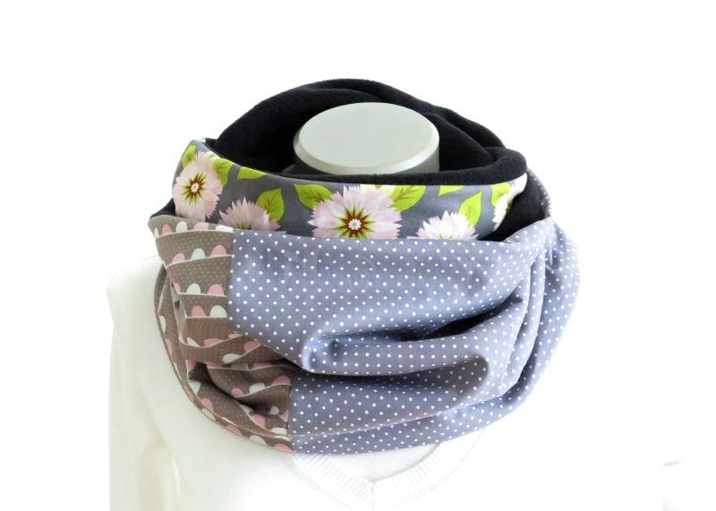 Kleinesbild - Milo-Schaly Loopschal grau bunt Blumen Fleece Einzelstück Loop  Damen