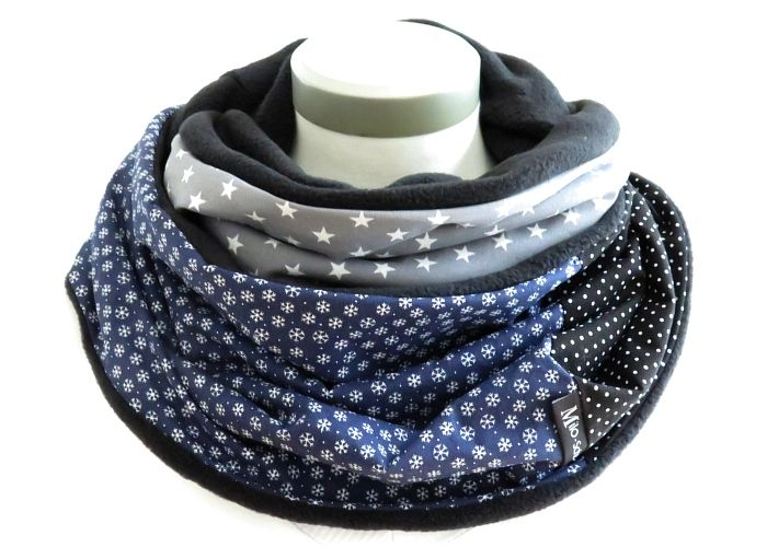 Kleinesbild - Milo-Schaly Loopschal blau grau Eiskristalle Schneeflocken Fleece Einzelstück Loop Damen warmer Schal