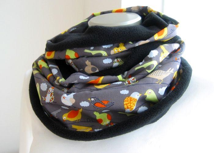 Kleinesbild - Milo-Schaly Loop Fleece Vögel grau bunt Loopschal Kuschelschal Schlauchschal warmer Schal