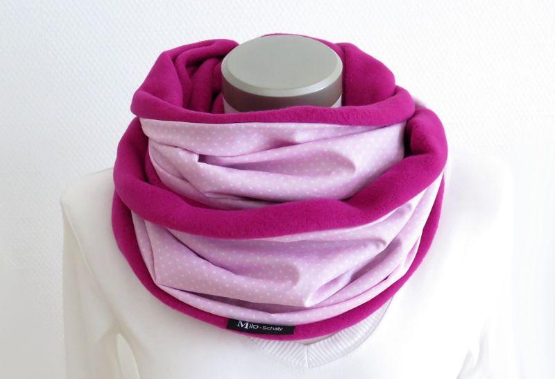 - Milo-Schaly Loop Baumwolle rosa pink Fleece Baumwollfleece Schal Damem Kuschelschal - Milo-Schaly Loop Baumwolle rosa pink Fleece Baumwollfleece Schal Damem Kuschelschal