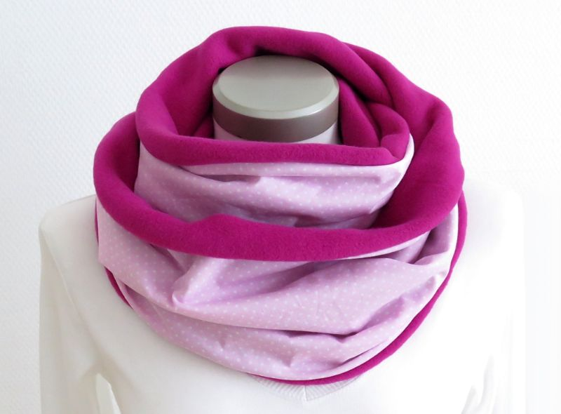 Kleinesbild - Milo-Schaly Loop Baumwolle rosa pink Fleece Baumwollfleece Schal Damem Kuschelschal