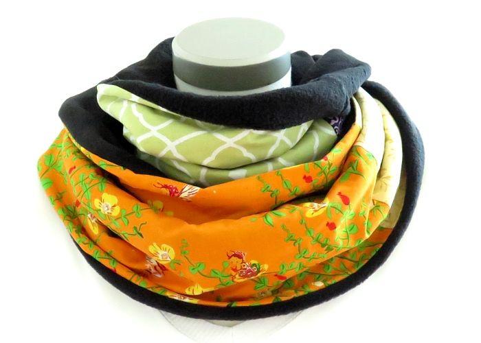 Kleinesbild - Milo-Schaly Loopschal Damen lila orange bunt Blumen Einzelstück Fleece Loop Schal