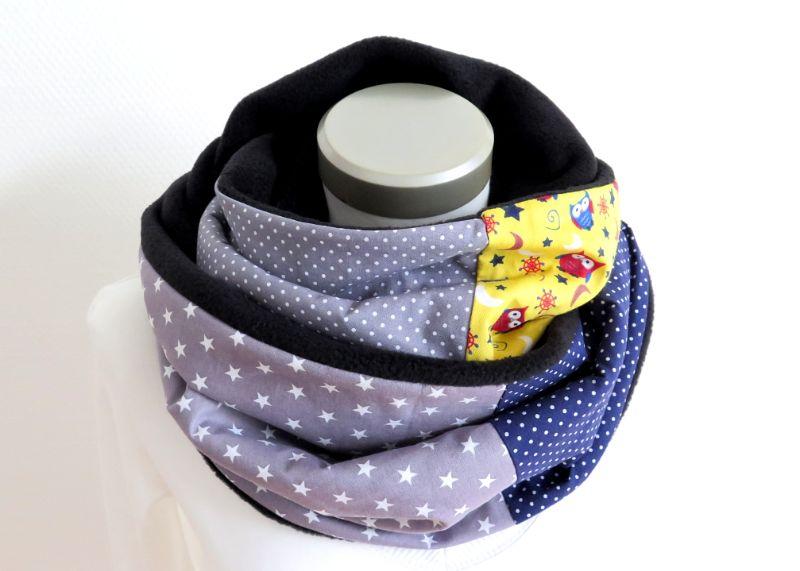 Kleinesbild - Milo-Schaly Loopschal Damen Eulen blau gelb grau Einzelstück Fleece Loop Schal Sterne Punkte