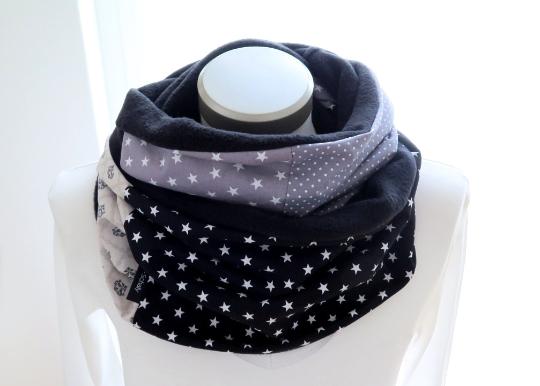 Kleinesbild - Milo-Schaly Loop  Damen grau Ornamente Schal Fleece Kuschelschal Loopschal Sterne Punkte