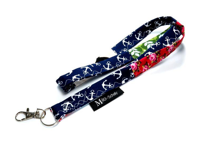 Kleinesbild - Milo-Schaly Schlüsselband lang bunt Patchwork Karabiner Einzelstück Schlüsselanhänger Blumen