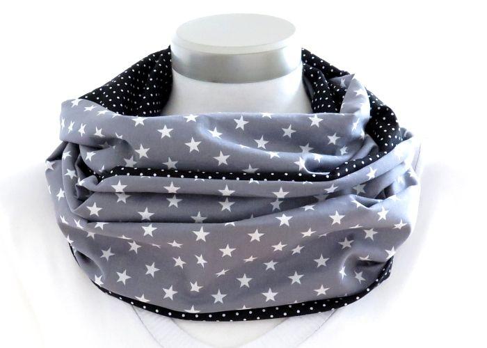 Kleinesbild - Milo-Schaly Loop Schal Damen Sterne grau + Punkte schwarz Baumwolle Wendeloop Schlauchschal