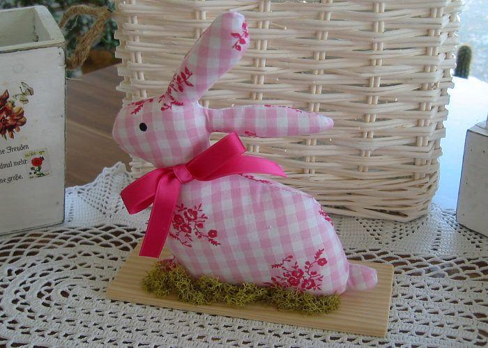 Kleinesbild - Deko Hase Ostern rosa weiß Osterhase Landhaus Shabby