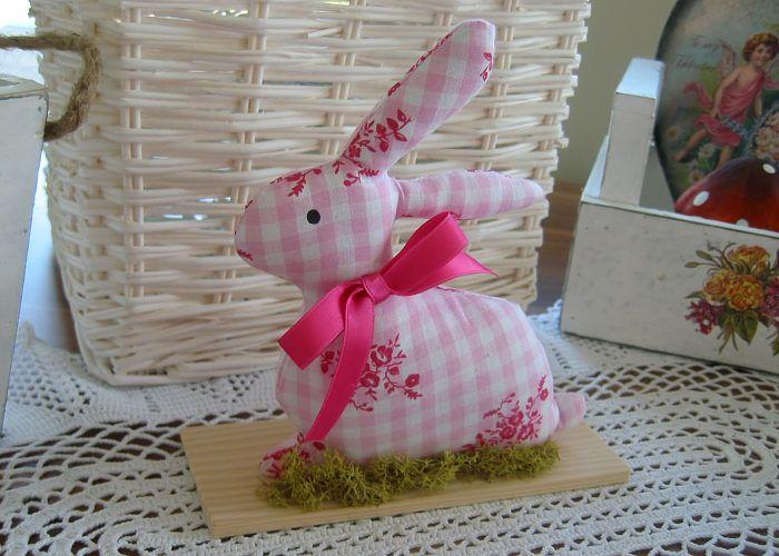 - Deko Hase Ostern rosa weiß Osterhase Landhaus Shabby  - Deko Hase Ostern rosa weiß Osterhase Landhaus Shabby