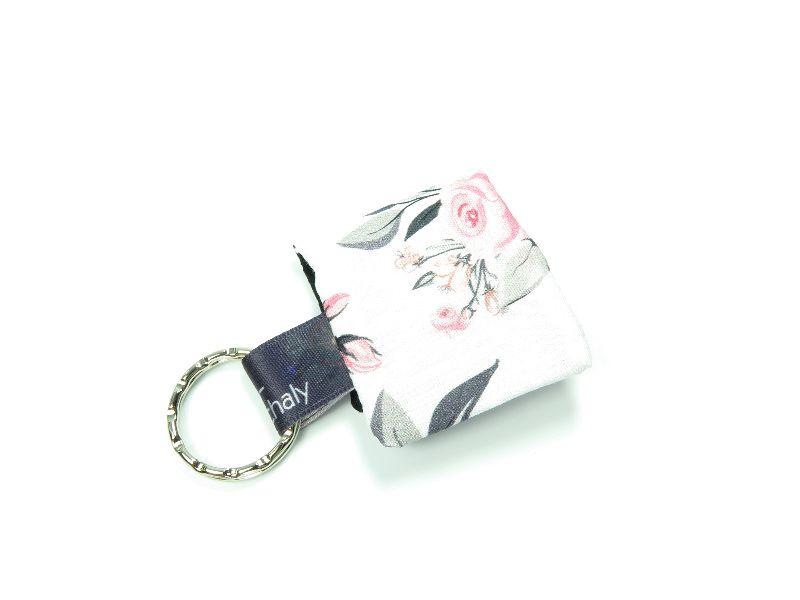 Kleinesbild - Milo-Schaly Einkaufswagenchip Täschchen Rosen weiß Schlüsselanhänger mit Chip  Chiptäschchen