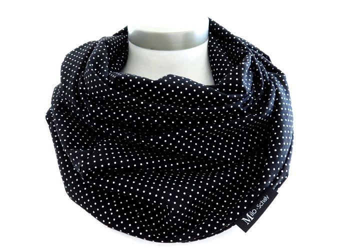 Kleinesbild - Milo-Schaly Loop Punkte schwarz weiß Damen Baumwolle Loopschal Baumwollschal