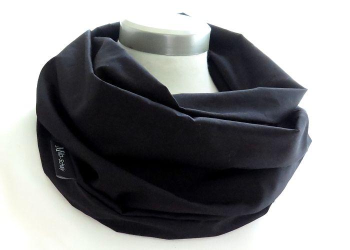 Kleinesbild - Milo-Schaly Loop Schal uni schwarz Damen Baumwolle Loopschal unisex