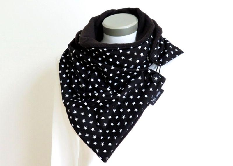 Kleinesbild - Milo-Schaly Wickelschal mit Knopf Sterne schwarz weiß Damen Schal Fleece Knopfschal