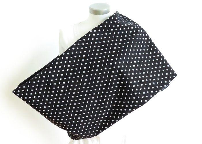 Kleinesbild - Milo-Schaly XXL Loop Stillloop Stillschal extrabreit Sterne schwarz weiß Baumwolle Schal