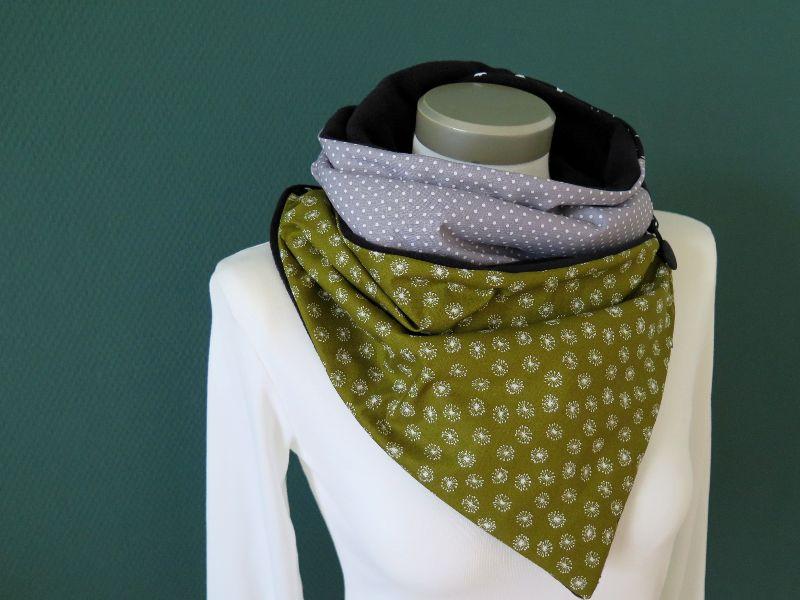 Kleinesbild -  Milo-Schaly  Wickelschal mit Knopf Pusteblume grün Patchwork Schal Fleece Knopfschal