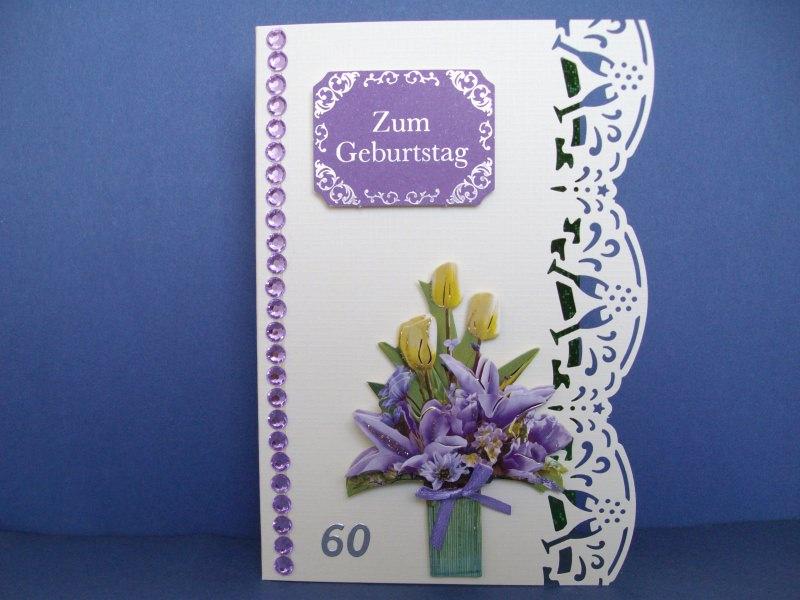 Geburtstagskarte zum 60 für eine Frau *in zartgelb/lila*