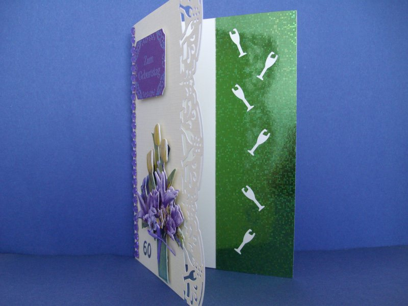 Kleinesbild - Geburtstagskarte zum 60 für eine Frau *in zartgelb/lila*