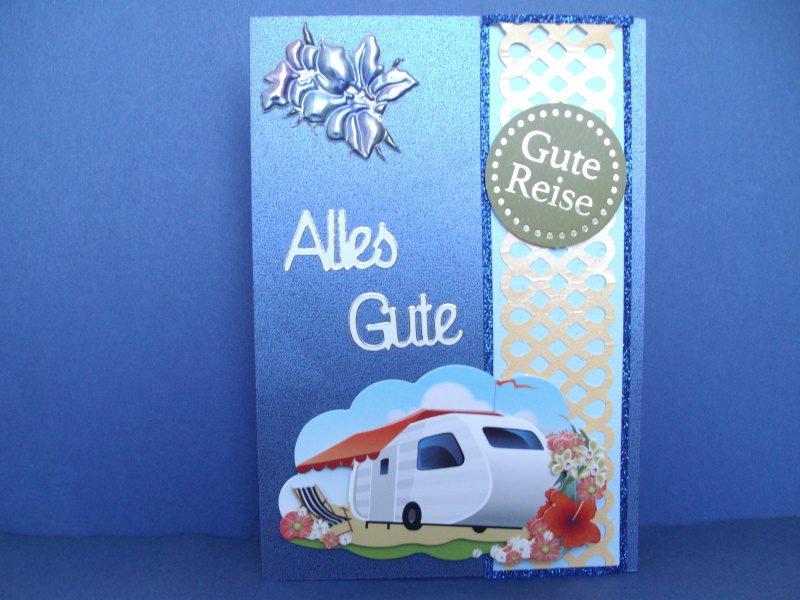 - Gutscheinkarte für eine Reise in blau mit einem Wohnwagen - Gutscheinkarte für eine Reise in blau mit einem Wohnwagen