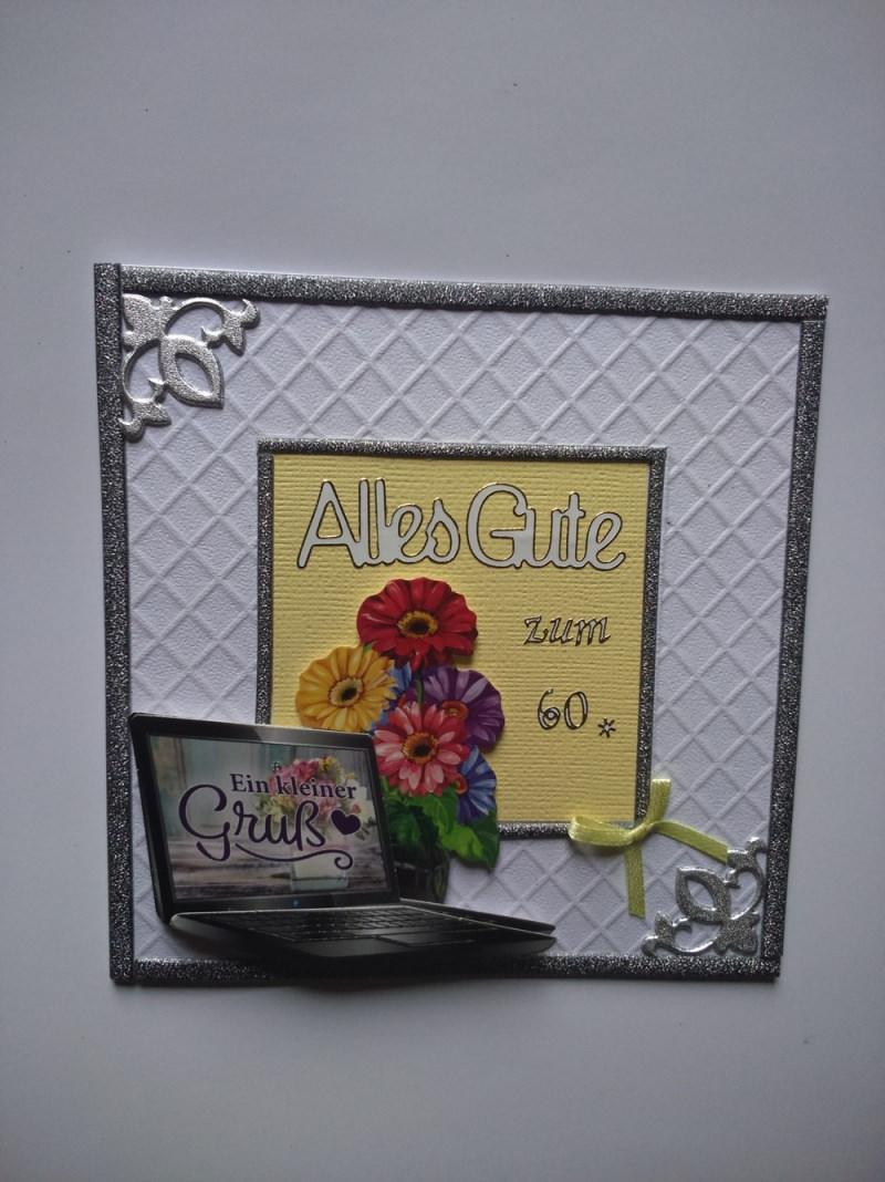 - Geburtstagskarte für eine Frau oder einen Mann zum 60 mit einem LapTop - Geburtstagskarte für eine Frau oder einen Mann zum 60 mit einem LapTop