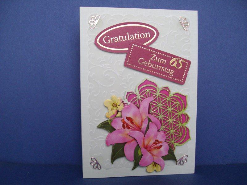 - Geburtstagskarte zum 65 für eine Frau mit einer Mandalablume - Geburtstagskarte zum 65 für eine Frau mit einer Mandalablume