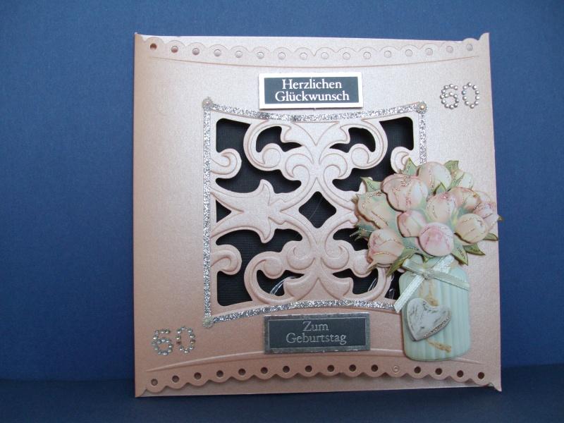 - Geburtstagskarte für eine Frau zum 60 * in lachs - Geburtstagskarte für eine Frau zum 60 * in lachs