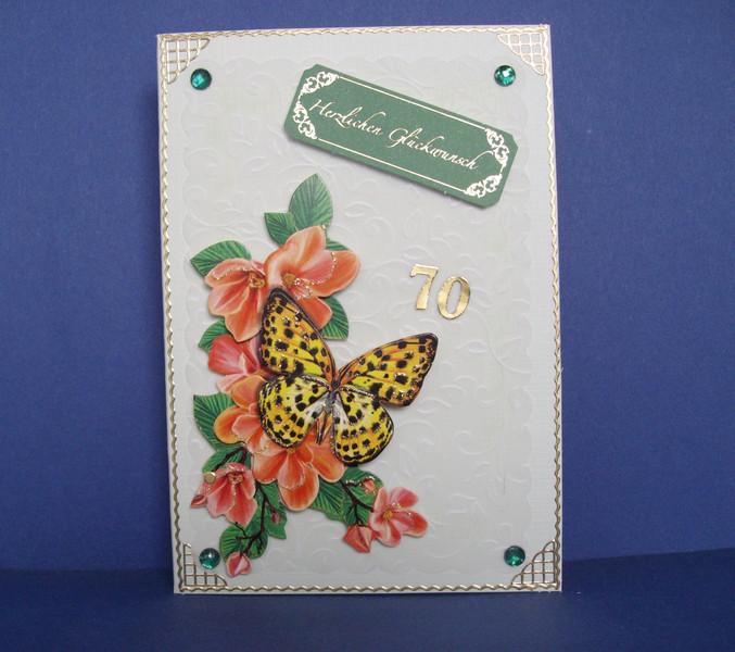 - Geburtstagskarte für eine Frau zum 70. ten mit einem Schmetterling - Geburtstagskarte für eine Frau zum 70. ten mit einem Schmetterling