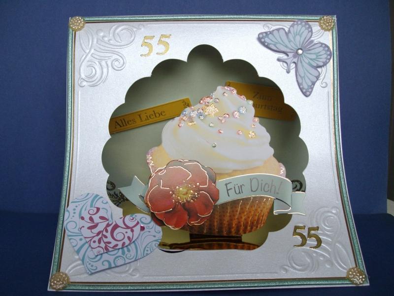 - Geburtstagskarte für eine Frau zum 55. ten mit CupeCake - Geburtstagskarte für eine Frau zum 55. ten mit CupeCake