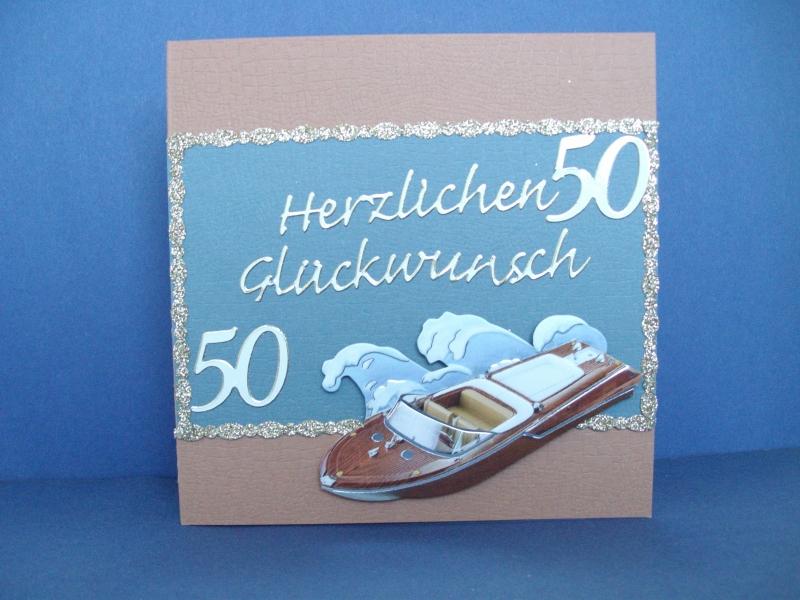 Anlässe : Geburtstagskarte zum 50.ten für einen Mann mit Sportboot
