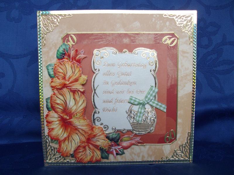 - Geburtstagskarte zum 60 für eine Frau in Orange - Geburtstagskarte zum 60 für eine Frau in Orange