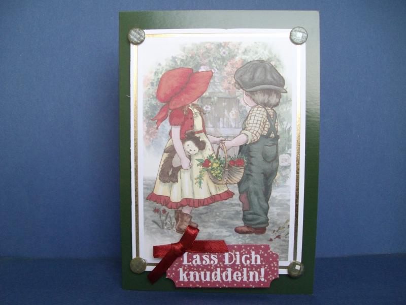 - Geburtstagskarte verspielt in dunkelgrün mit kleinen Kindern - Geburtstagskarte verspielt in dunkelgrün mit kleinen Kindern