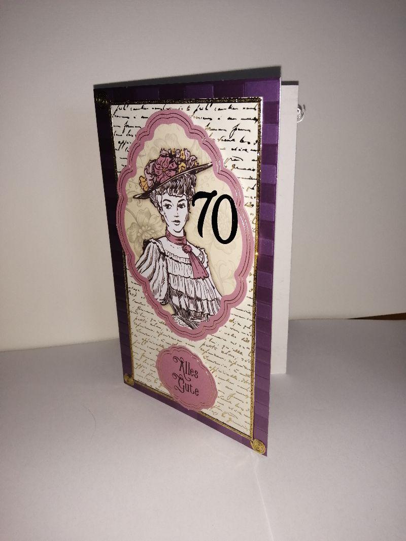 Kleinesbild - Geburtstagskarte zum 70. ten mit einem nostalgischen Frauenmotiv