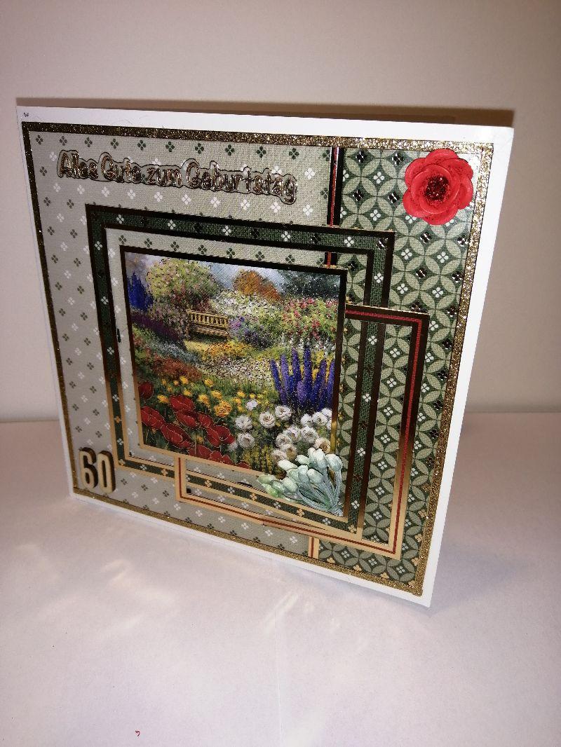 - Geburtstagskarte zum 60.ten für eine Frau mit Blumenmotiven - Geburtstagskarte zum 60.ten für eine Frau mit Blumenmotiven