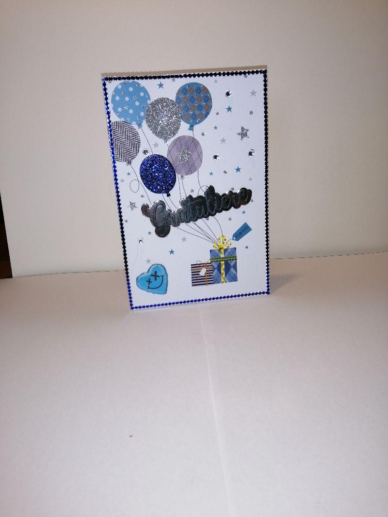 Kleinesbild - Geburtstagskarte in blau/weiß für eine Frau oder einen Mann