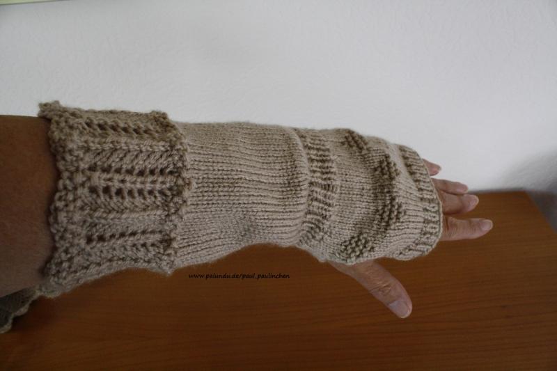 Kleinesbild - Armstulpen, Pulswärmer, Stulpen handgestrickt, beige, Artikel 1008 von Paul_Paulinchen