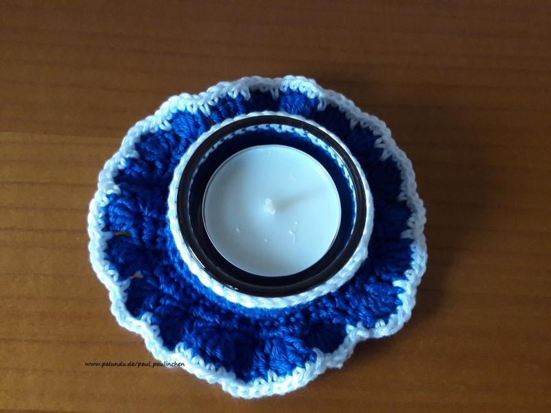 Kleinesbild - Teelichthalter gehäkelt inkl. Glas und Teelicht blau, Artikel 1004  bei Paul & Paulinchen
