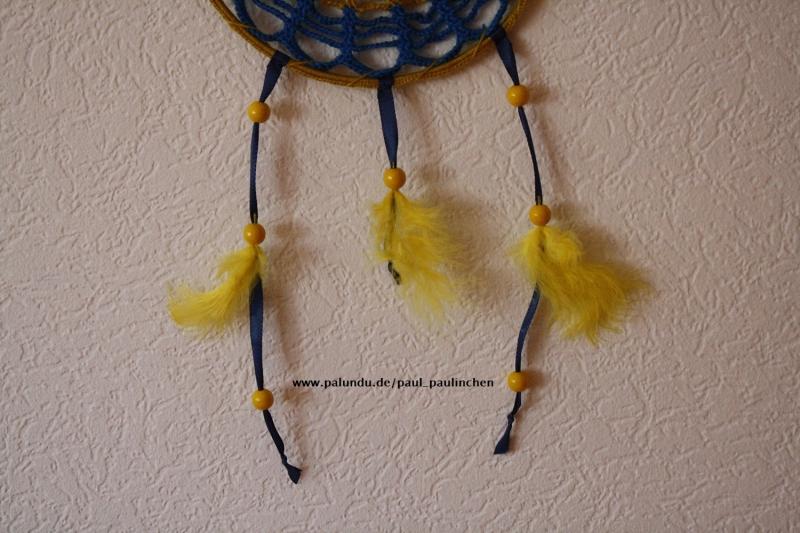 Kleinesbild - Traumfänger, Dreamcatcher, Wanddekoration gelb-blau, Artikel 1003 bei Paul_Paulinchen