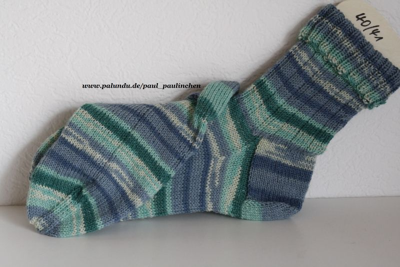 Kleinesbild - Damen-, Herrensocken , Größe 40/41, Artikel 4239 Fb: diverse Blau-Grüntöne handgestrickt bei Paul & Paulinchen