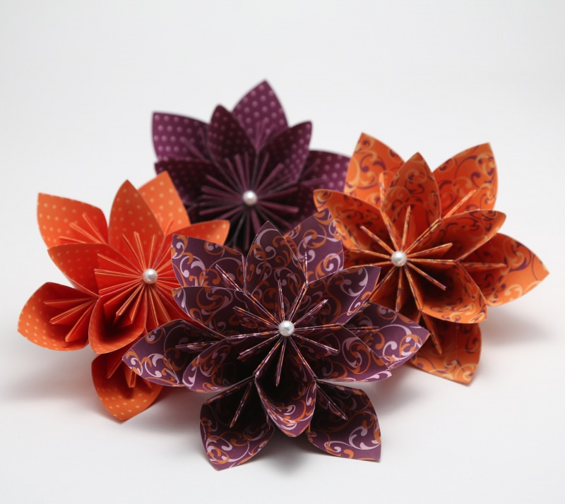 -  ♡ Wunderschöne Papierblumen zur Dekoration ♡ violett und orange ♡ 4er Set -  ♡ Wunderschöne Papierblumen zur Dekoration ♡ violett und orange ♡ 4er Set