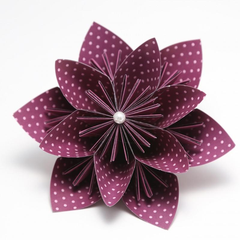 Kleinesbild -  ♡ Wunderschöne Papierblumen zur Dekoration ♡ violett und orange ♡ 4er Set