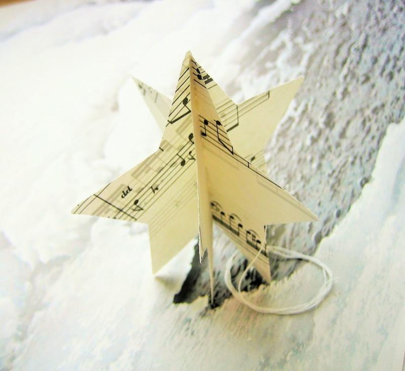 Kleinesbild - PAPIERSTERNE Noten *upcycling* ♫ ♪ ♥ Weihnachten 5er-Pack