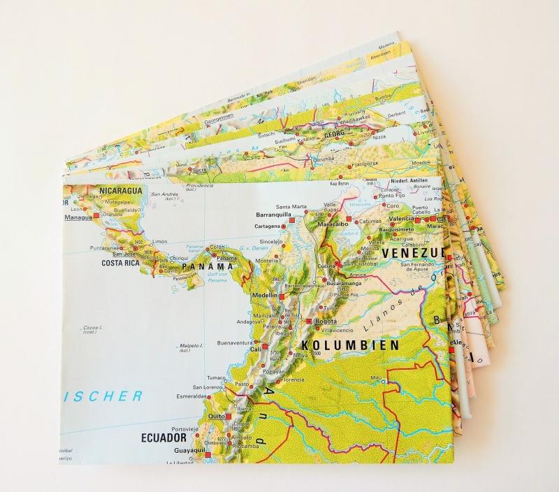 - 10er-Set Briefumschläge DIE WELT ♥ Landkarte *upcycling* - 10er-Set Briefumschläge DIE WELT ♥ Landkarte *upcycling*