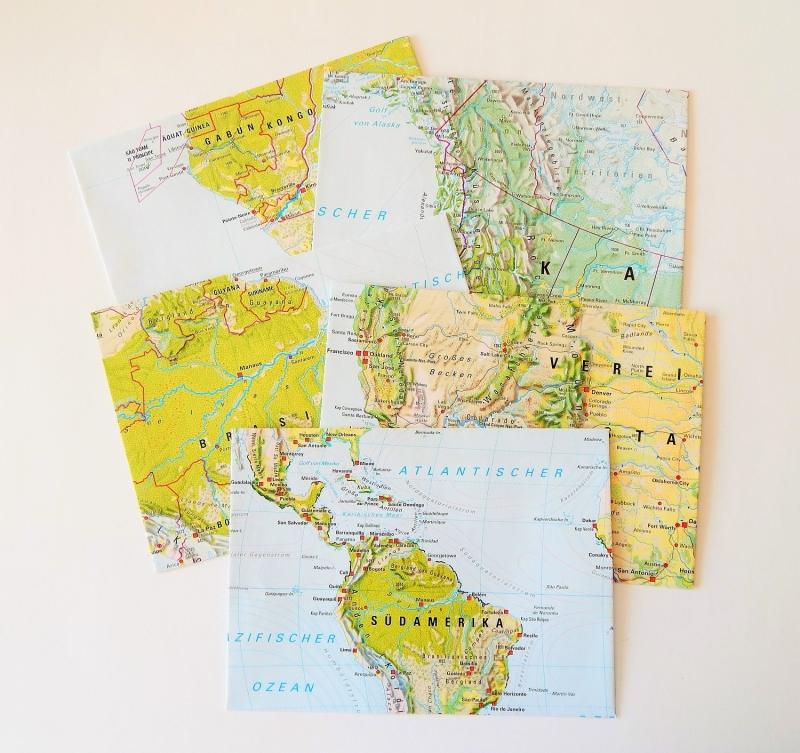 Kleinesbild - 10er-Set Briefumschläge DIE WELT ♥ Landkarte *upcycling*