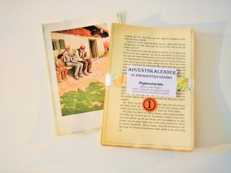 Kleinesbild - Adventskalender Buch HEIDI ♥ 24 PAPIERTÜTEN *upcycling pur* Weihnachten