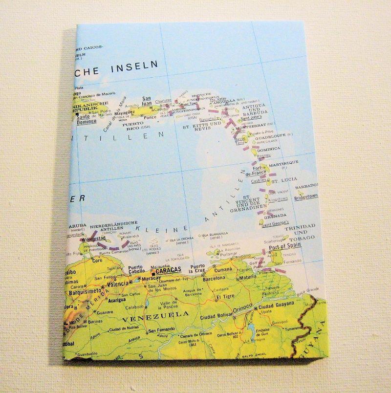 - KARIBIK Kleine Antillen ♥ schönes Notizbuch Landkarte *upcycling* - KARIBIK Kleine Antillen ♥ schönes Notizbuch Landkarte *upcycling*