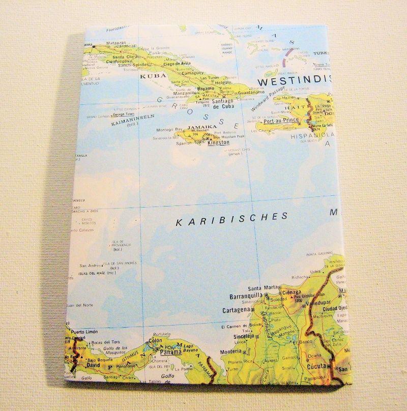 Kleinesbild - KARIBIK Kleine Antillen ♥ schönes Notizbuch Landkarte *upcycling*