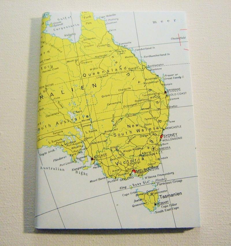 - AUSTRALIEN mit Tasmanien ♥ schönes Notizbuch Landkarte *upcycling* - AUSTRALIEN mit Tasmanien ♥ schönes Notizbuch Landkarte *upcycling*