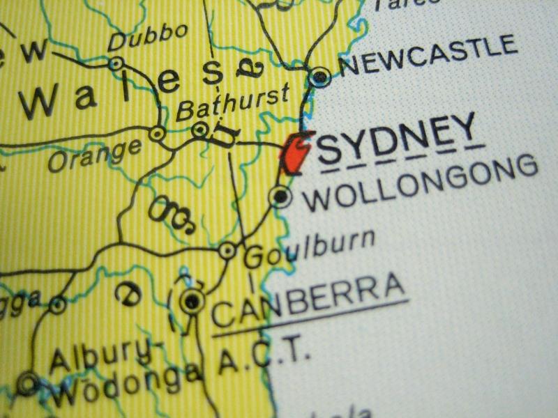 Kleinesbild - AUSTRALIEN mit Tasmanien ♥ schönes Notizbuch Landkarte *upcycling*
