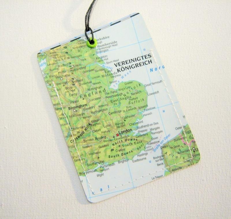 - Kofferanhänger ENGLAND ♥ London Landkarte *upcycling* - Kofferanhänger ENGLAND ♥ London Landkarte *upcycling*